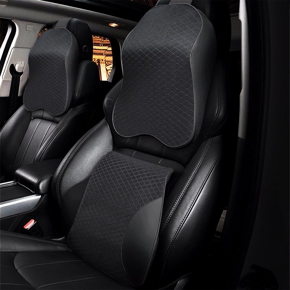 Voiture oreillers 3D mousse à mémoire de forme chaud voiture cou oreiller siège Auto en cuir synthétique polyuréthane coussin universel lombaire Support arrière Auto accessoires