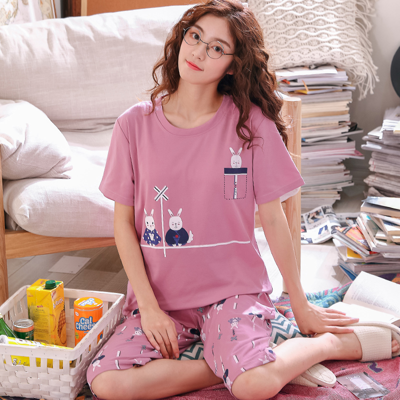 Summer Cartoon Pajamas Set Women Sleepwear Nightwear Pijama Mujer Plus size 3XL Loose Calf-Length Pants Nightsuit Pyjamas Femme