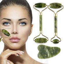 Jade pedra rolo de massagem facial para rosto pescoço natural massager verde guasha raspador conjunto fino lift beleza emagrecimento ferramentas rolo