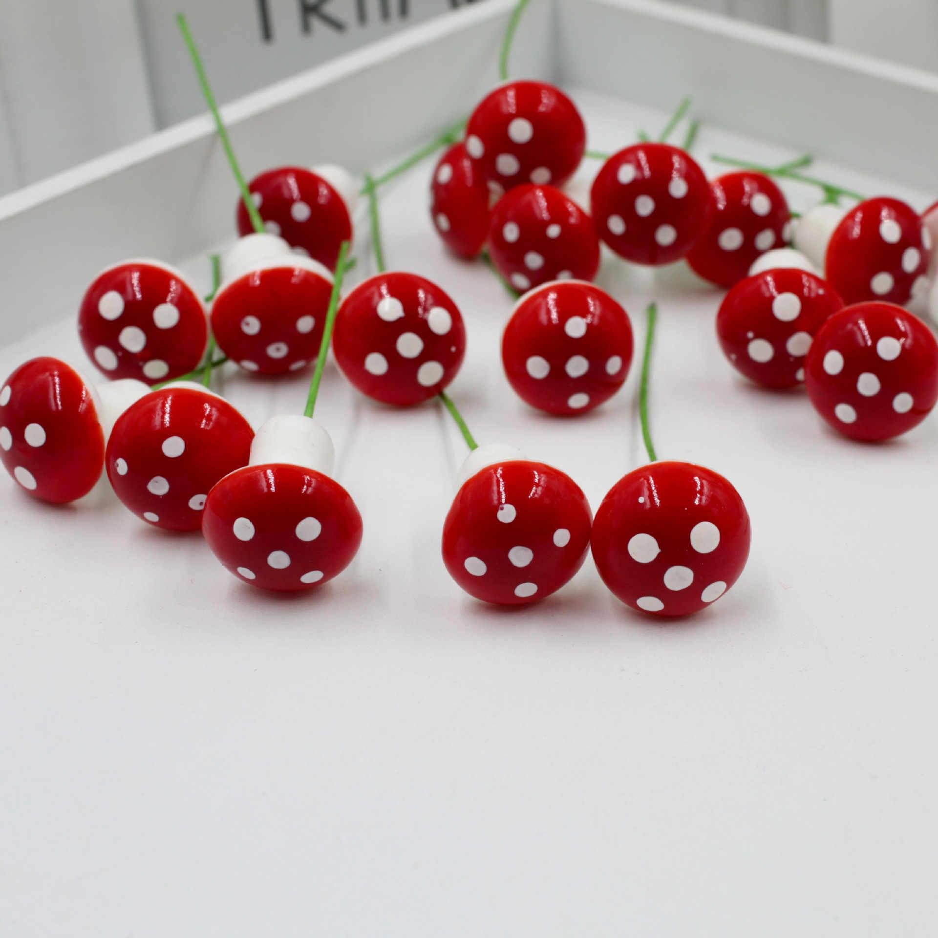 10 Buah/Set 2 Cm Buatan Mini Jamur Miniatur Fairy Taman Moss Terarium Resin Kerajinan Dekorasi Taruhan Kerajinan untuk Rumah