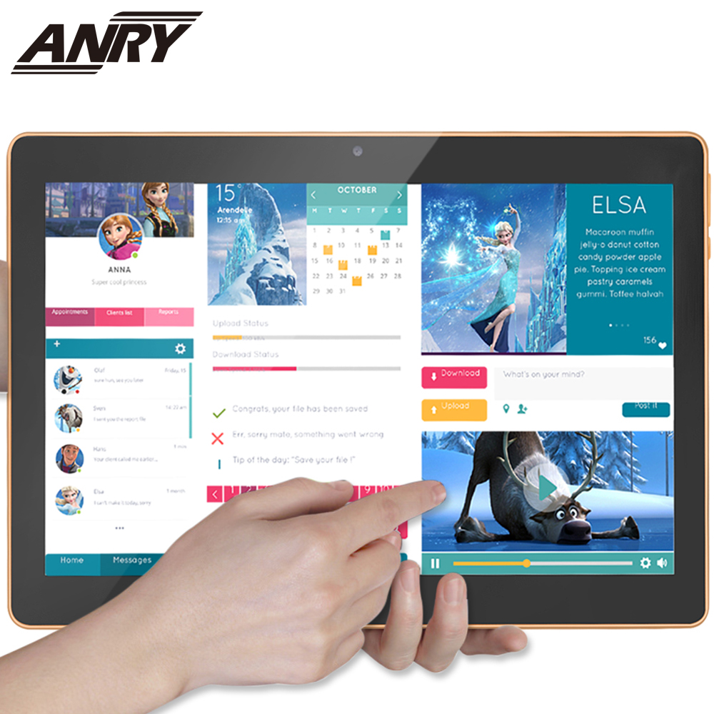 ANRY Touch Tablet 10.1 Inch With Wireless Bluetooth Mouse Android 7.0 4G Lte Phone Call Phablet Octa Core 4G+64G Tablet Pc