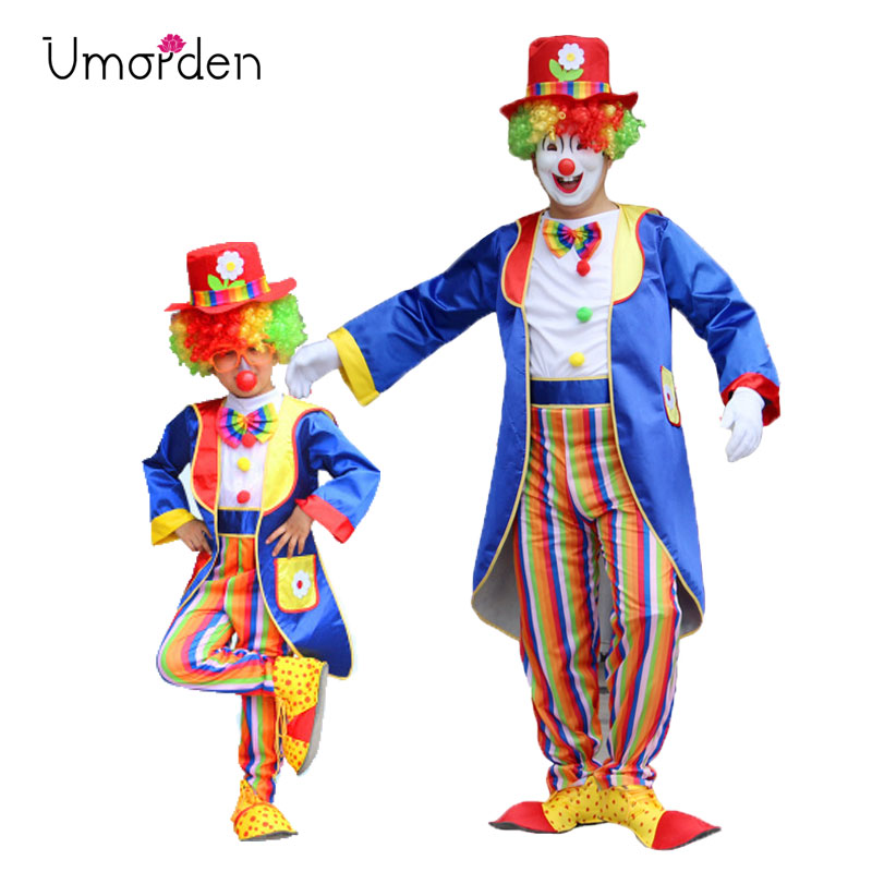 Umorden Halloween Carnival Party Costumes Dad And Son Matching Circus Clown Costume Cosplay Clothes Set For Father Kids Children