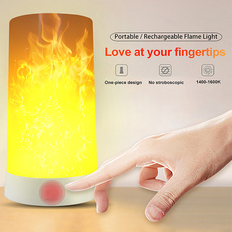 Lamp USB Smart Night Light LED Nightlights Flame Effect Lamp Flame Decoration Lamp Portable Flame Night Light image