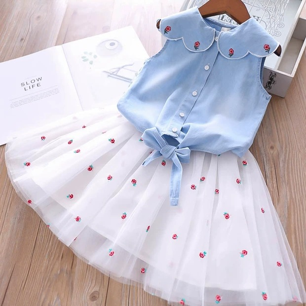 2020 Summer Girls' Clothing Sets Denim Flower Embroidered Lapel Top+Net Yarn Skirt 2PCS Suit Princess Baby Kids Children Clothes