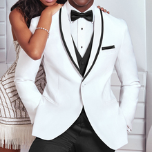 White Men Suit Jacket for Wedding Shawl Lapel Slim Fit Single One Piece Blazer Male Fashion Clothes Coat 2021