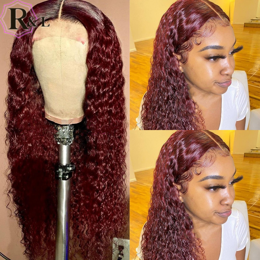 RULINDA 99j Curly Lace Front Human Hair Wigs Highlight Ombre Color Brazilian Remy Hair Lace Wigs With Baby Hair Middle Part