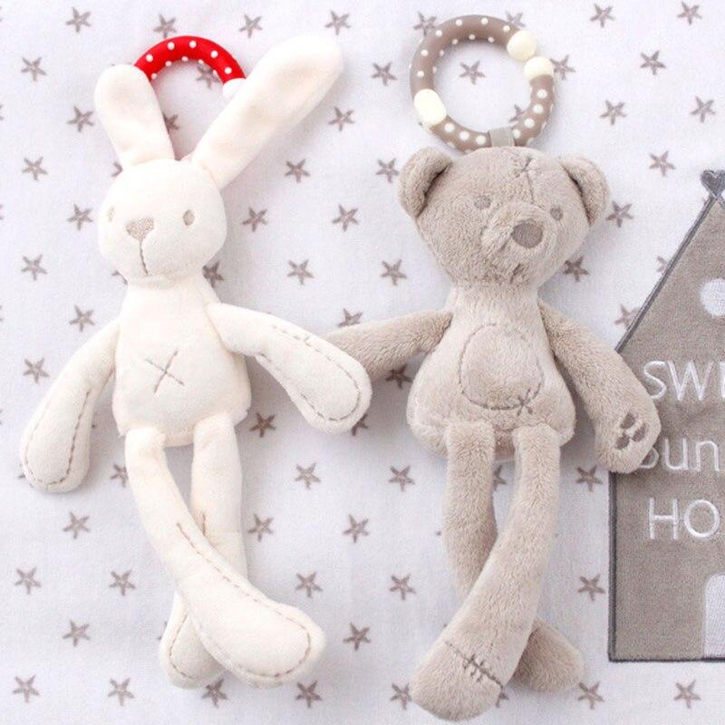 cute Baby Crib Stroller Toy Rabbit Bunny Bear Soft Plush infant Doll Mobile Bed Pram kid Animal Hanging Ring Ring Color Random(China)