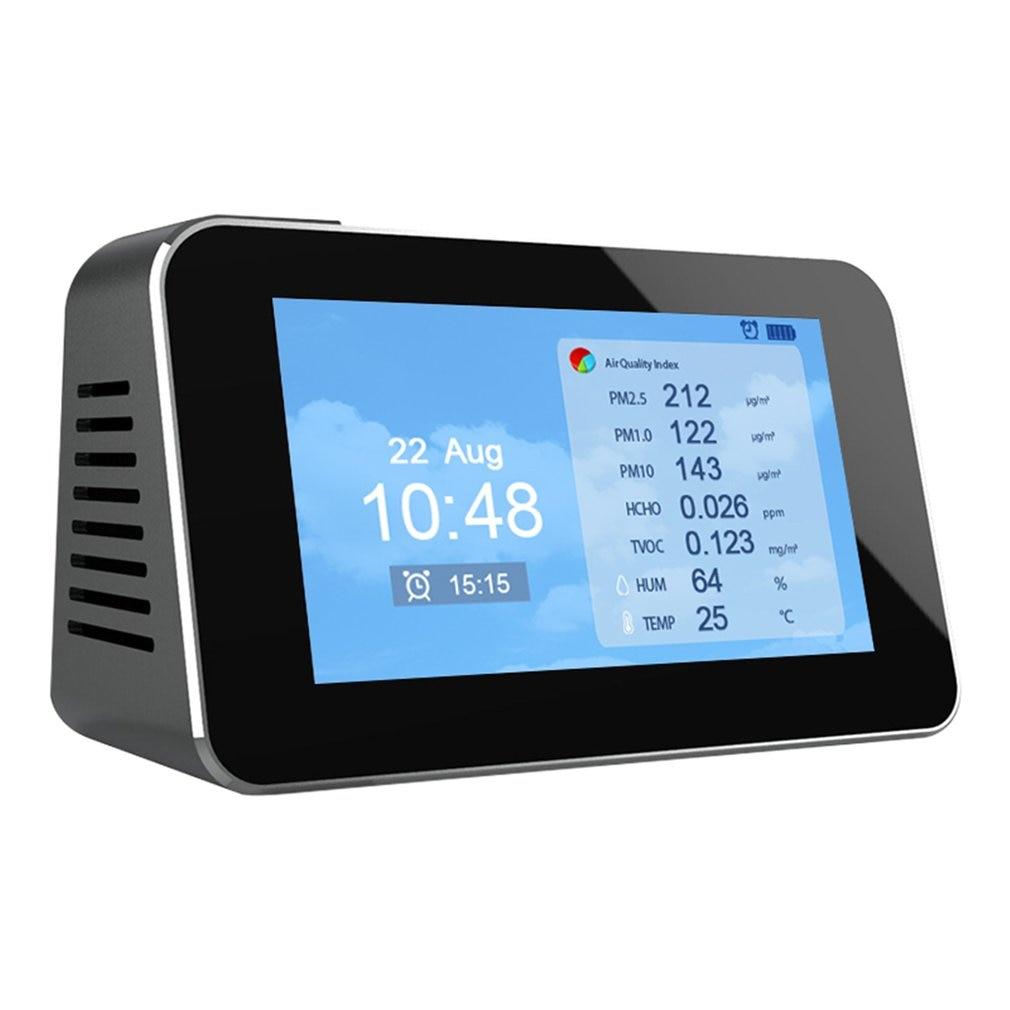 PM2.5/PM10/PM1.0/TVOC Tester AQI Air Quality Analysis Detector Temperature Humidity Monitor Home Smog Meter Alarm Clock