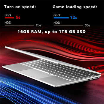 15.6 inch 8GB16GB laptop Fingerprint Unlock intel 3867U windows10 SSD Student Notebook for gaming office with USB Flash Drive