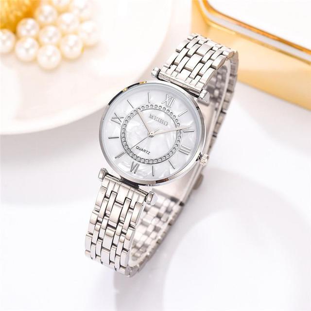 Relojes de lujo con diamantes para mujer, pulsera de acero inoxidable con correa de malla plateada, de cuarzo, 2020 3