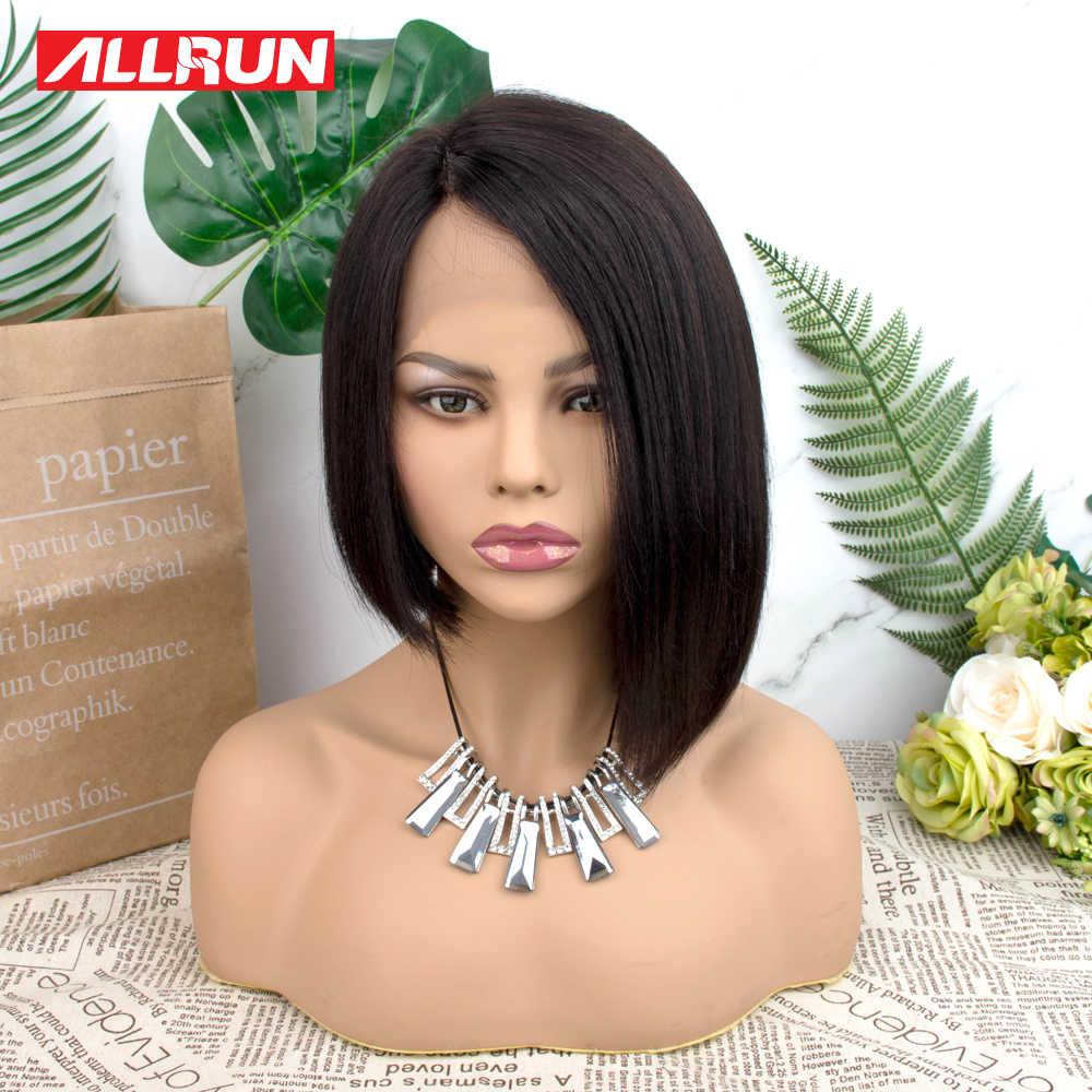 """Allrun przedziałek z boku koronkowa peruka brazylijski nie Remy średni stosunek 12 """"peruka z krótkim bobem 130% gęstość proste włosy ludzkie peruki średni stosunek"""