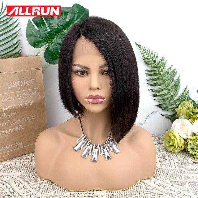 """Peluca de encaje de la parte lateral de Allrun peluca brasileña no Remy media relación 12 """"Peluca de Bob corto pelucas de pelo humano recto de la densidad 130%"""