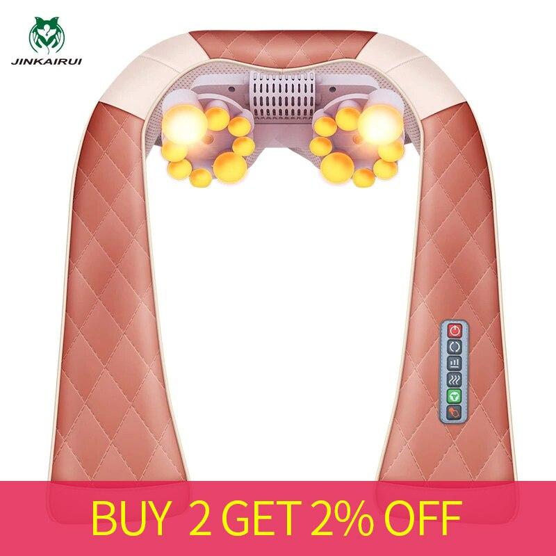 JinKaiRui Multi-function 3D Kneading Massage Shawl With Heat Electrical Shiatsu Back Neck Shoulder Massager Foldable Massagem