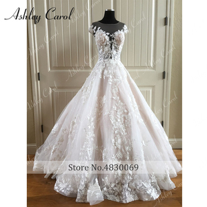 Image 5 - Ashley Carol A Line Wedding Dress 2020 Backless Off the Shoulder Beaded Lace Appliques Princess Bride Dresses Beach Bridal Gown