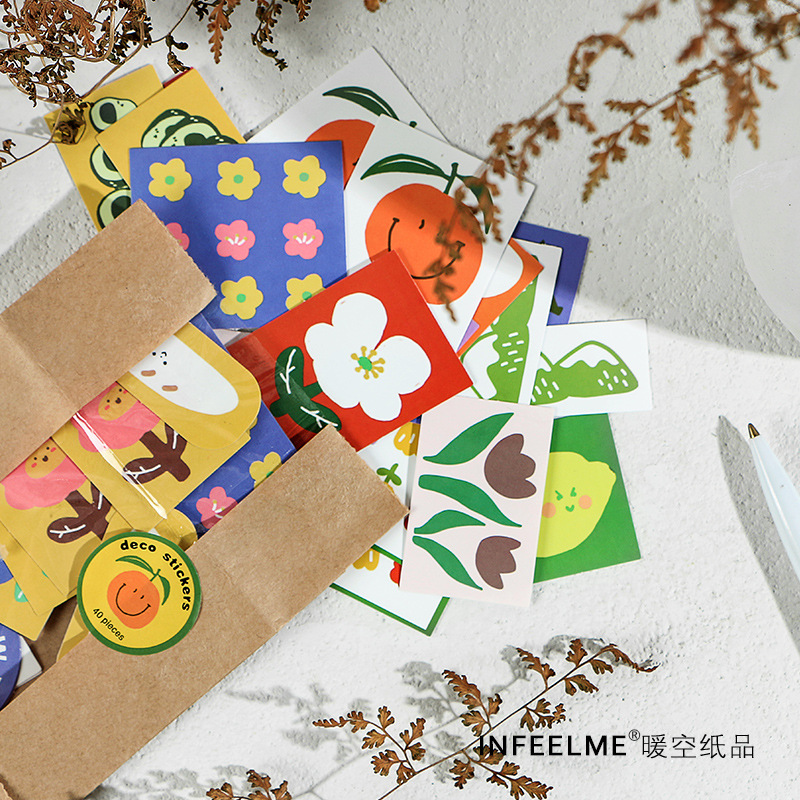 40Pcs Vintage Animals Collection Journal Decorative Stickers Scrapbooking Stick Label Diary Album Stationery Retro Bear Sticker