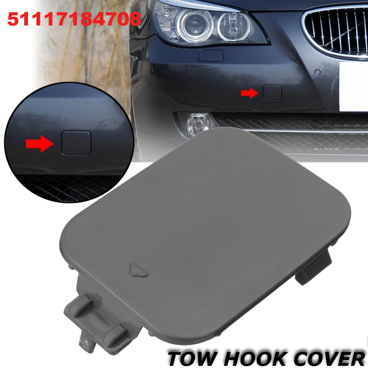Gary Color Front Bumper Tow Hook Car Hook Cover Cap Trim for BMW 5 Series E60 E61 2008 2009 2010 Auto Replacement Exterior Parts
