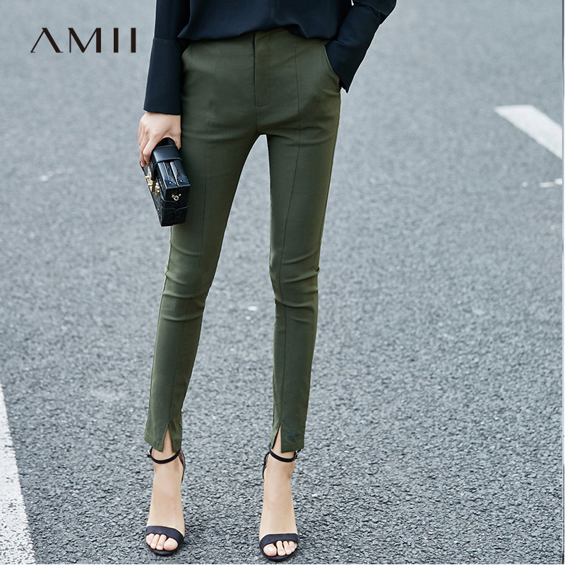 Amii Minimalist High Waist Pencil Pants Spring Women Solid Slim Fit Female Trousers 11760617