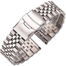 Paslanmaz çelik saat bilezik kayışı 20mm 22mm 24mm kadın erkek gümüş katı Metal Watchband aksesuarları