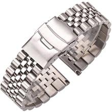 Roestvrij Stalen Horloge Armband Band 20Mm 22Mm 24Mm Vrouwen Mannen Zilver Solid Metal Watch Band Strap Accessoires
