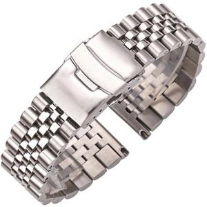 Image 1 - Roestvrij Stalen Horloge Armband Band 20Mm 22Mm 24Mm Vrouwen Mannen Zilver Solid Metal Watch Band Strap Accessoires