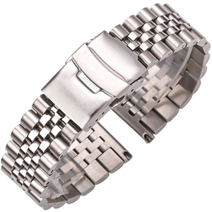 Image 1 - Stainless Steel Watch Bracelet Strap 20mm 22mm 24mm Women Men Silver Solid Metal Watchband Accessories