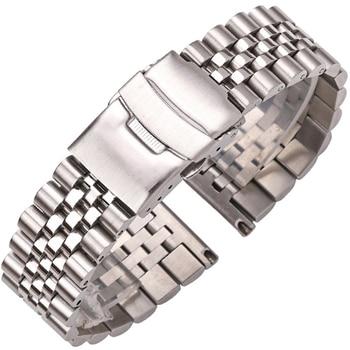 Stainless Steel Watch Bracelet Strap 20mm 22mm 24mm Women Men Silver Solid Metal Watchband Accessories stainless steel watch band solid metal watch bracelet strap men women watchband 14mm 16mm 18mm 20mm 22mm 24mm butterfly clasp