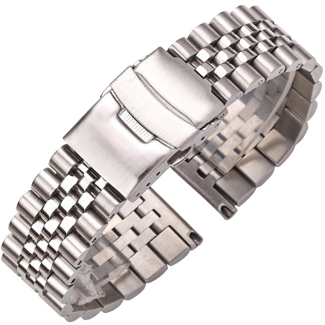 Stainless Steel Watch Bracelet Strap 20mm 22mm 24mm Women Men Silver Solid Metal Watchband Accessories