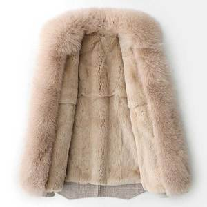 Image 2 - Abrigo de invierno con cuello de piel de zorro saco Bomber de mujer Mujer