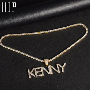 Hip Hop Custom Name Zircon Iced Out Tennis Letters Chain Pendants & Necklaces For Men Jewelry With Gold Tennis Chain