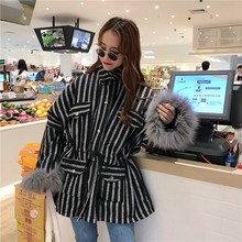 Women Coat 2019 Winter New Korea Lapel Vertical Stripes Drawstring Waist Design Cuff Leather Hair Windbreaker Festival Clothes(China)