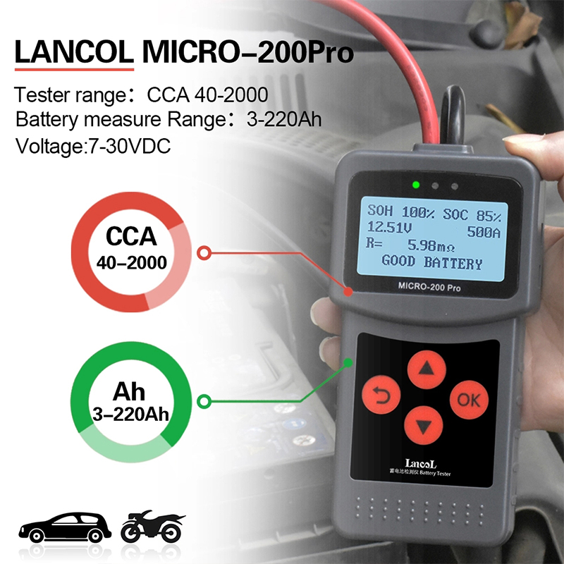 AGM Battery 200 System Multi 24v PRO Digital Tester For Battery Gel MICRO Analyzer EFB Load Automotive Moto Car 12v Car Language