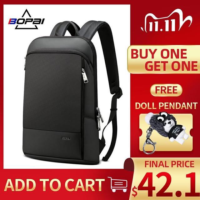 Bopai homens mochila magro portátil mochila para 15.6 polegada moda escritório à prova dwaterproof água negócios backpacksfor mulher ultraleve