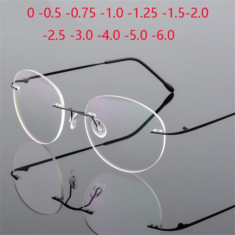Titan Legierung Framless Runde Myopie Brille Fertigen Frauen Männer Ultra-light Randlose Brillen 0-0,5-0,75 zu-6,0