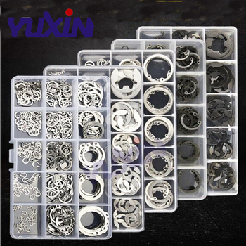 175Pcs/150Pcs Set Black&304 Stainless Steel Clamp Ring GB893 Circlips For A Hole Retaining Ring Bearing Hole Snap Ring Box Kit 1