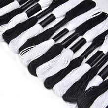 Ponto cruz bordado linha para diy artesanato caseiro costura acessórios 12 branco + 12 preto bordado fio