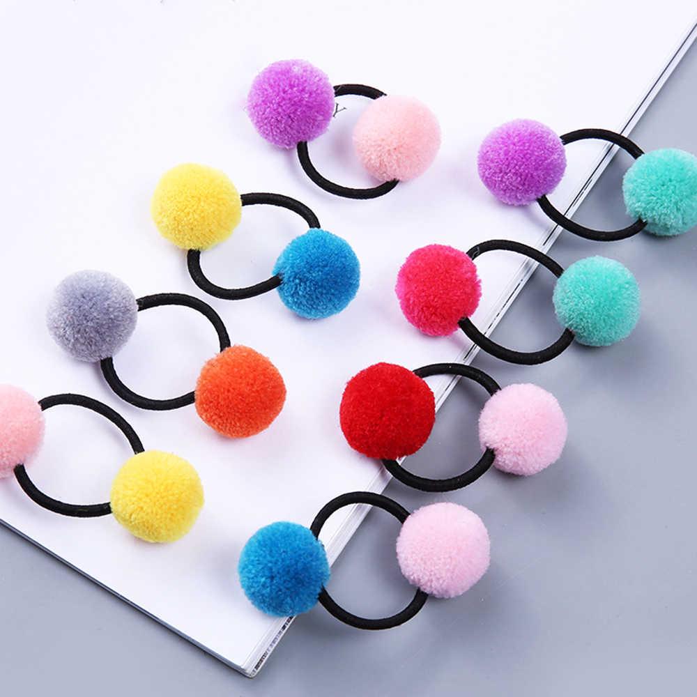 1 adet/2 adet bebek kız moda sakız ponpon elastik saç bantları top pembe toka çocuk güzel çocuklar lastik saç bantları saç aksesuarı