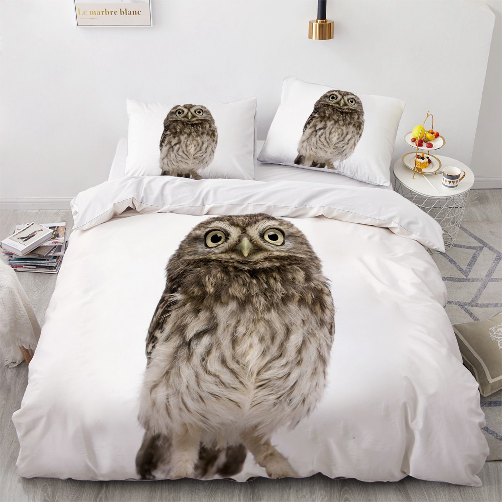 3D Bedding Sets Animal Owl Duvet Quilt Cover Set Comforter Bed Linen Pillowcase King Queen Full