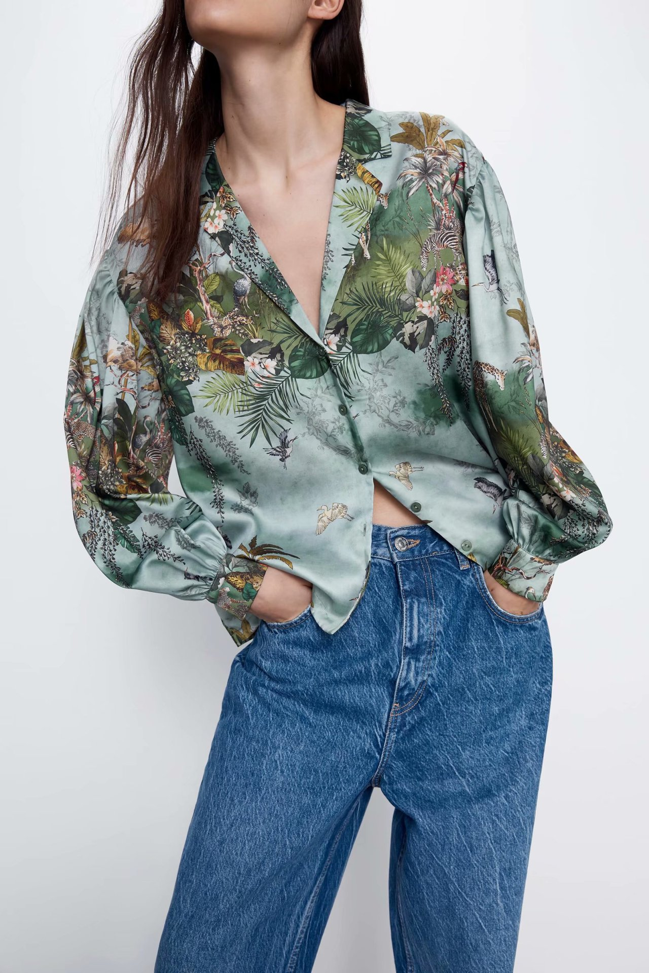 2020 Spring And Summer New Style European Printed Flowing Shirt Zaraing Vadiming Sheining Women's Shirt