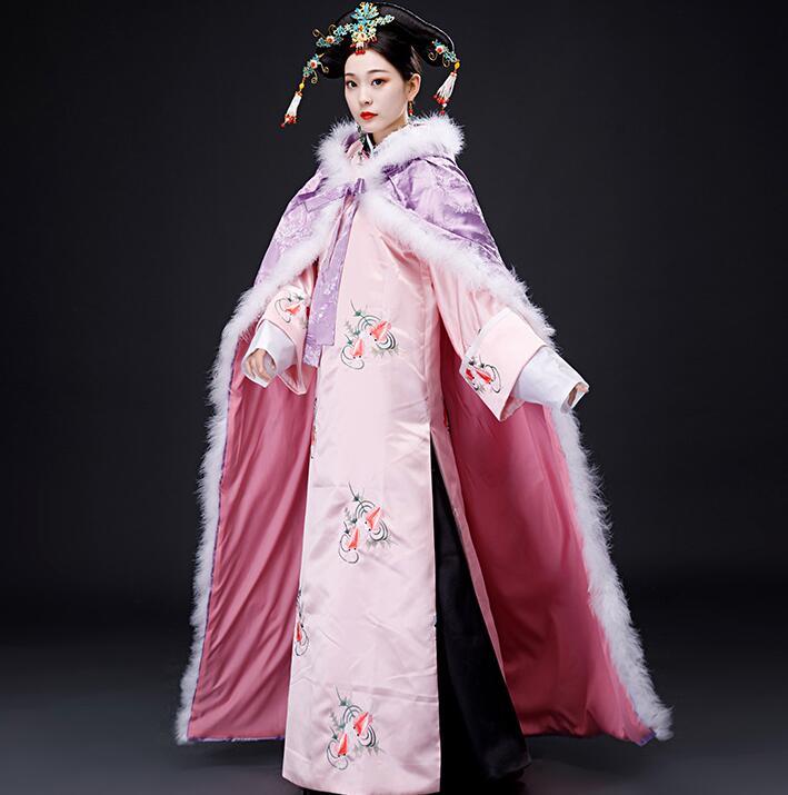 Autumn winter cloak Cape realistic performance Costume fine workmanship warm Elegant embroidery female vintage film  TV cosplay