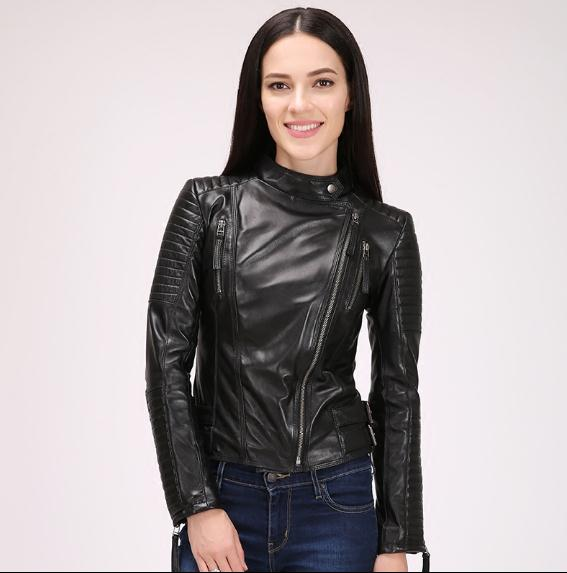 Women's 100% Sheepskin Jacket Spring Woman Genuine Leather Jackets Fashion Slim Coat Plus Size Motor Clothes