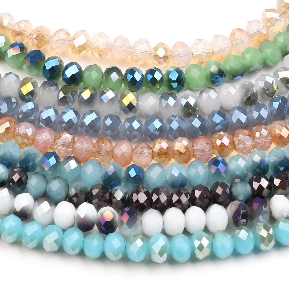 Wholesale Crystal Glass Rondelle Faceted Loose Spacer Beads DIY 2-10mm Bracelet