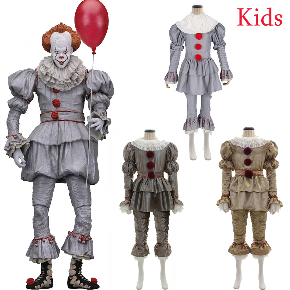 Kids Movie It: Chapter Two Pennywise Cosplay Costume Boys Girls Clown Stephen King's It Halloween Party Costumes Golves Mask Free Shipping