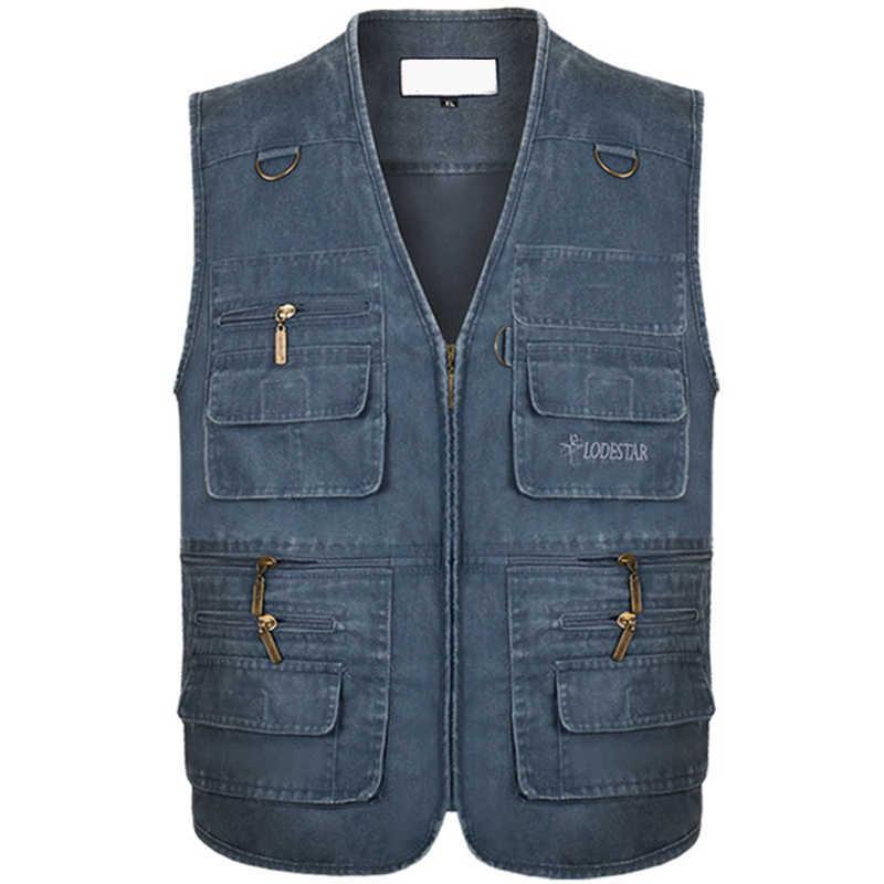Plus Größe 6XL 7XL Männlichen Casual Sommer Baumwolle Denim Weste Männer Ärmellose Jacke Multi Tasche Foto Weste chaleco hombre