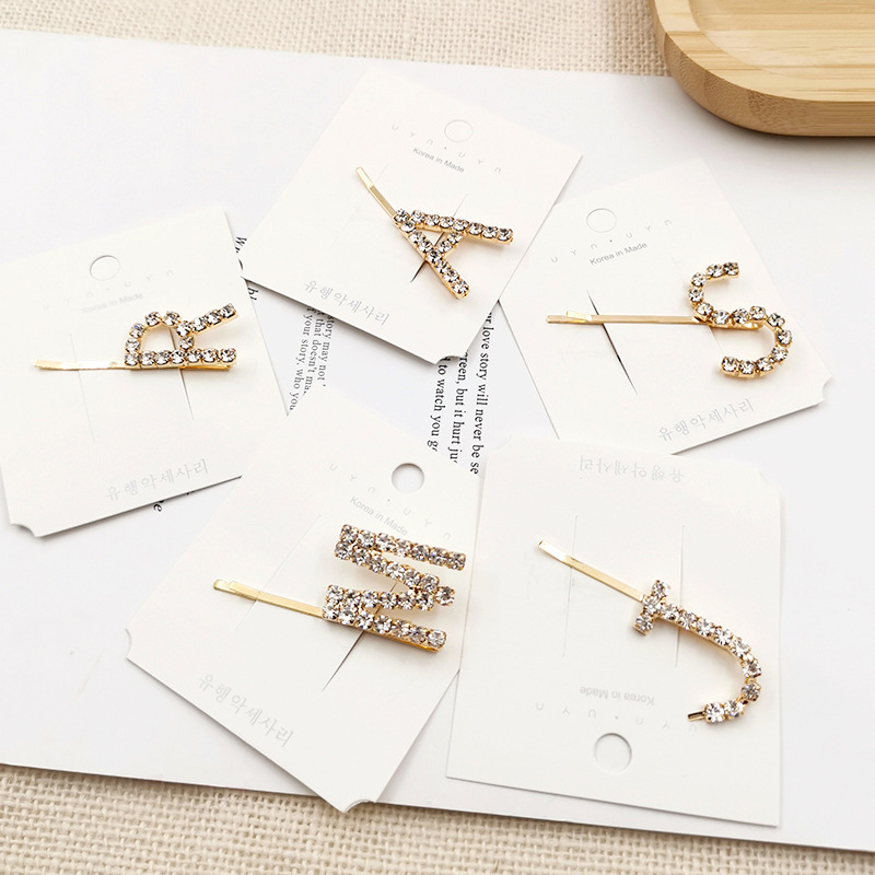 2019 INS Sweet Fashion Geometric Crystal Hair Clips Letters Rhinestones Gold Hairpins Women Girls Barrettes Hair Accessories
