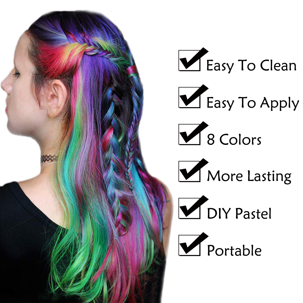 8 Colors Hair Chalks Powder DIY Temporary Women Hair Color Pastels Salon Styling Tool Portable Paint Beauty Dye Styling Accessor 6
