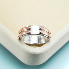 Vintage Female Rose Gold Linear Ring Luxury Silver Color Big Wedding Rings For Men Women Charm Bridal Geometric Engagement Ring