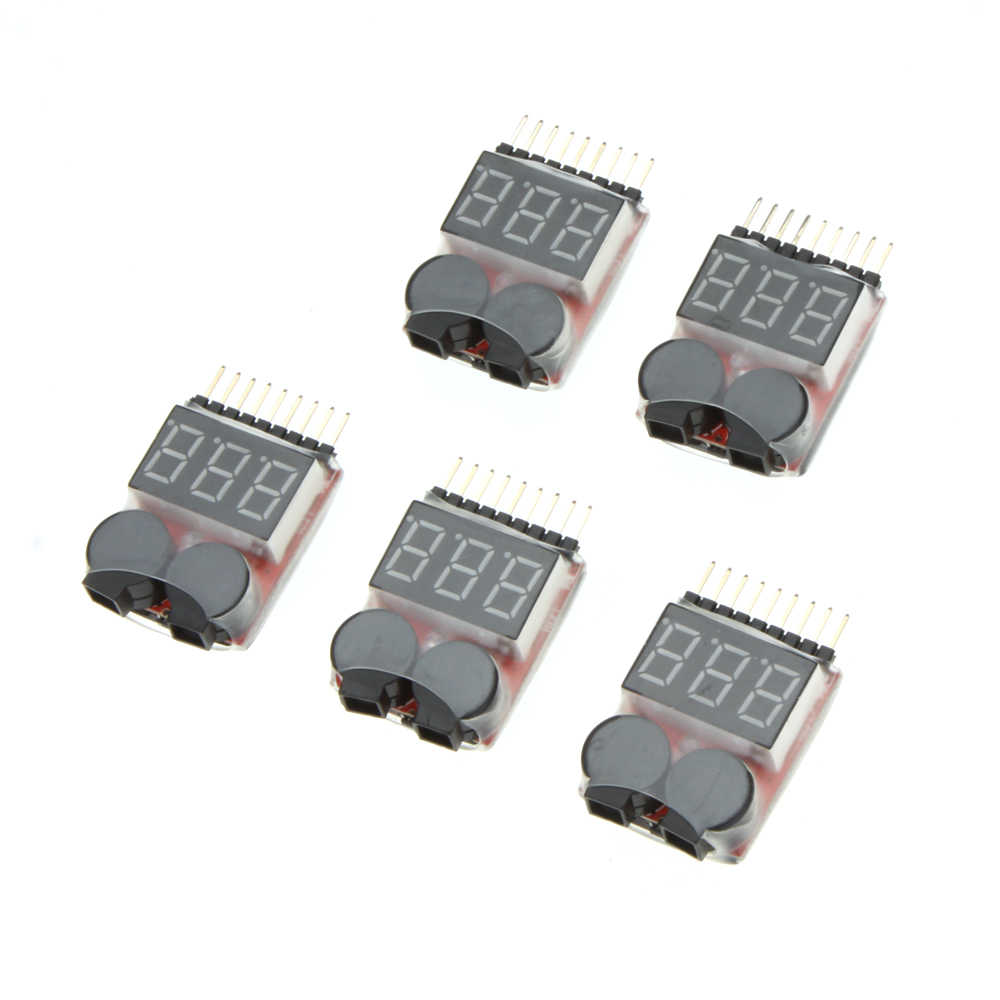 5PCS 1-8S Indicator Li-Ion Lipo Li-Fe Batterij Tester Low Voltage Buzzer Alarm voor RC auto Drone Quadcopter Boot Model Deel
