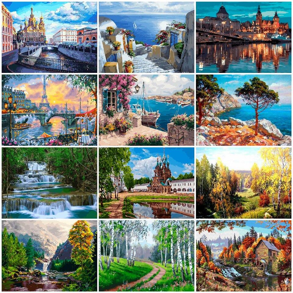 AZQSD numbrite järgi maalimine / maalimiskomplekt maastiku ja linnavaated / 23 erinevat pilti / 50x40cm ilma raamita