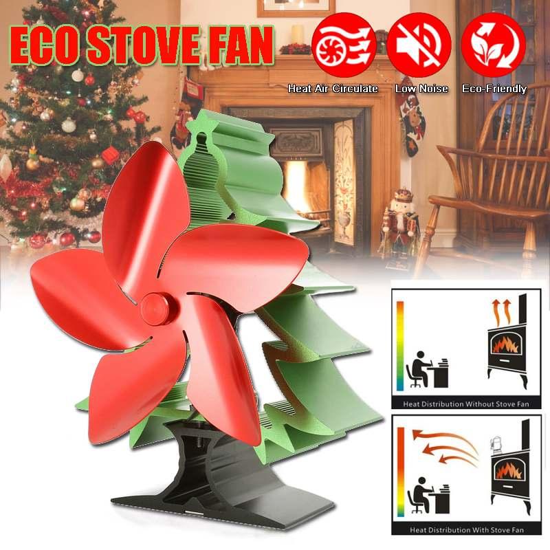 Christmas Stove Fan 5 Blade Fireplace Fan Heat Powered Log Wood Burner Eco Fan Friendly Quiet Home Efficient Heat Distribution