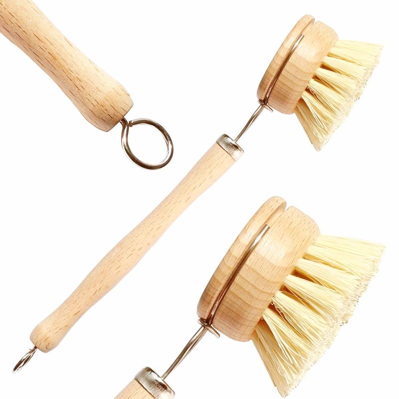 Щетка для очистки из дерева на основе сизаля и конопли с длинной ручкой, сменная щетка для овощей, биоразлагаемые кухонные щетки